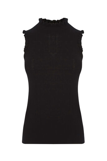 Oasis, Sleeveless frill knit Black 0