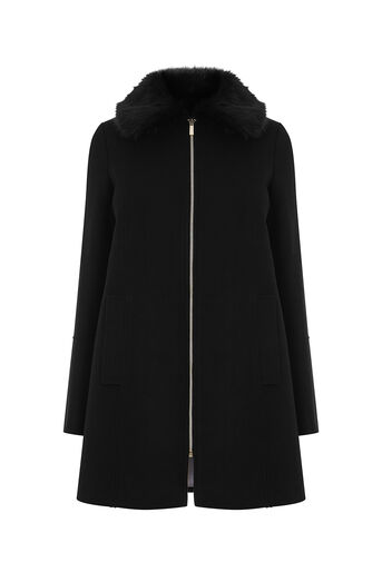 Oasis, PRINCESS ZIP SWING COAT Black 0