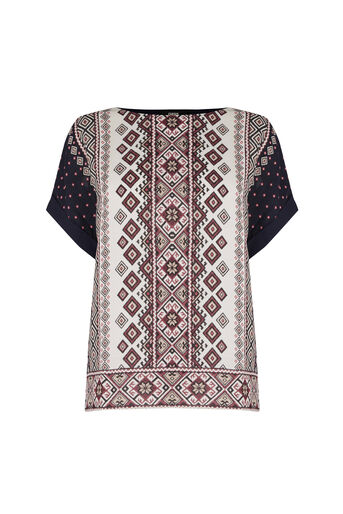 Oasis, Embroidered Mixed T-Shirt Multi 0