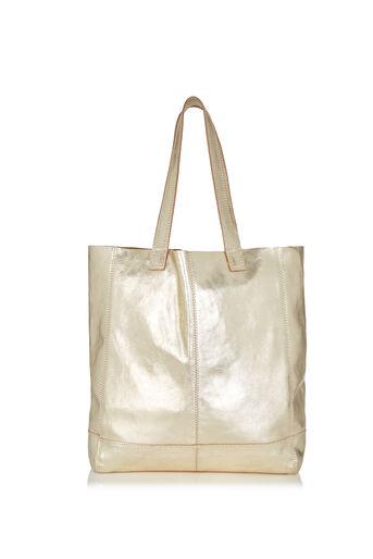 Oasis, Unlined Leather Shopper Gold 0