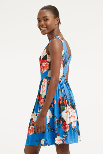 Oasis, ROSE SKATER DRESS Mid Blue 3