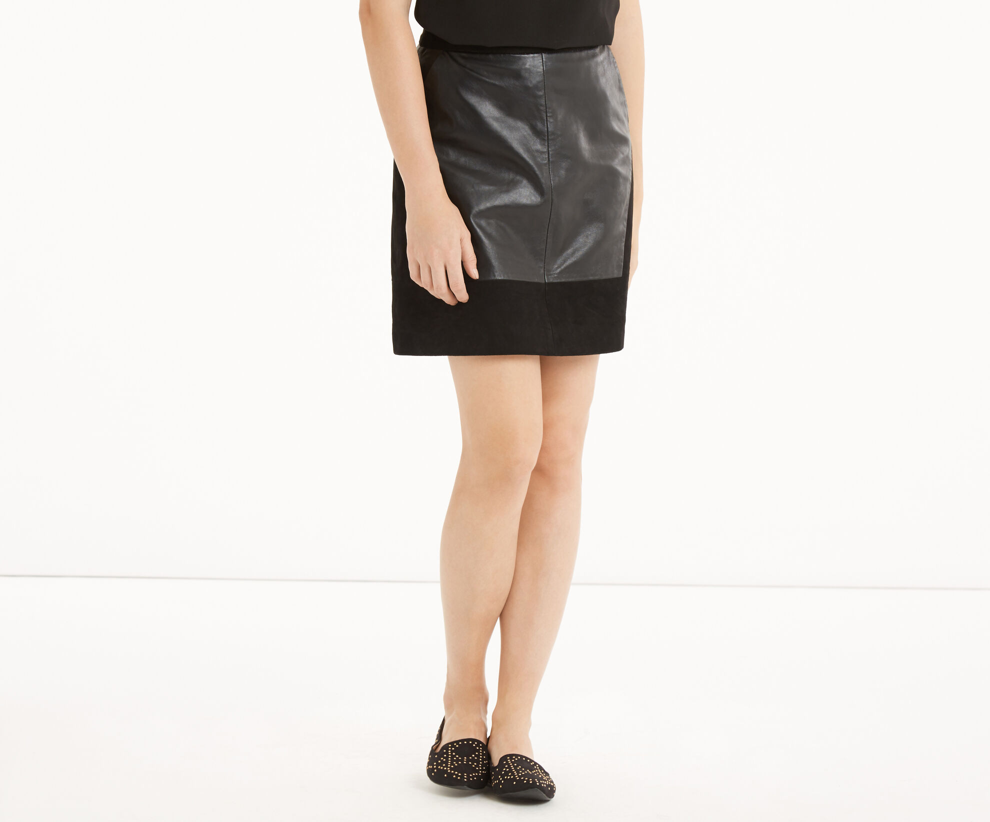 Oasis, Patched Suede & Leather Skirt Black 1