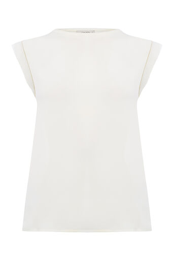 Oasis, PLAIN EMBROIDERED TRIM TEE Off White 0