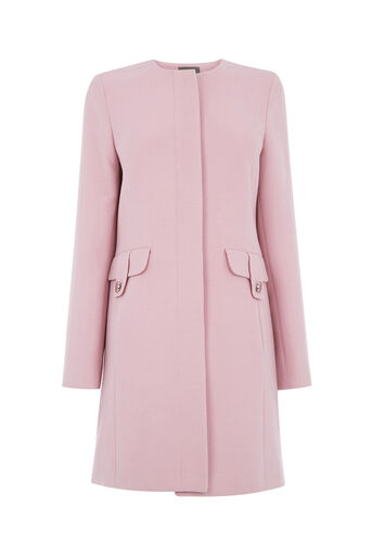 Oasis, COLLARLESS COAT Mid Pink 0