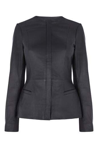 Oasis, COLLARLESS LEATHER JACKET Black 0