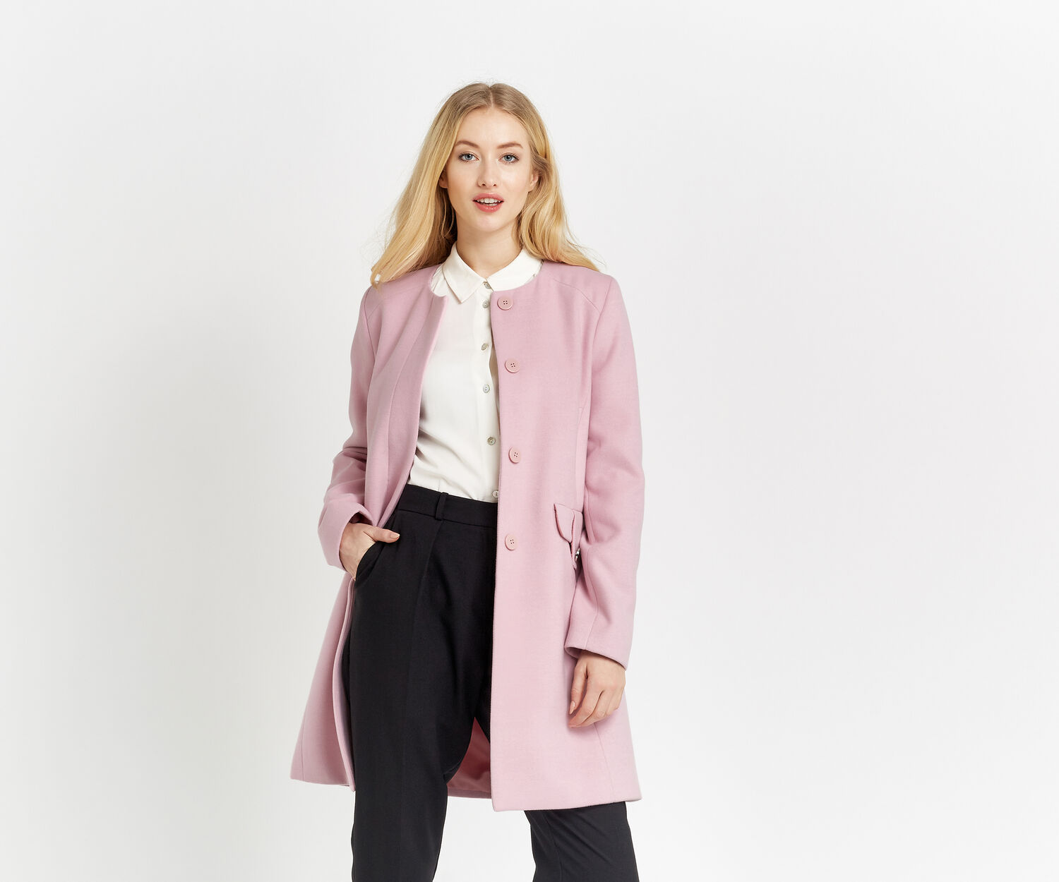 Oasis, COLLARLESS COAT Mid Pink 1