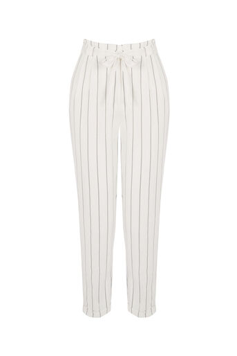 Oasis, Stripe Peg Paperbag Trouser Off White 0