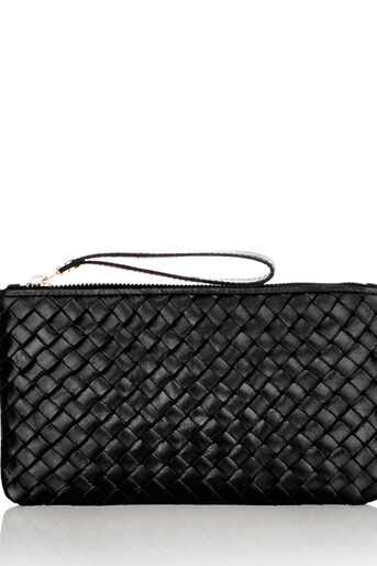 Oasis, LEATHER WEAVE ZIP TOP PURSE Black 0