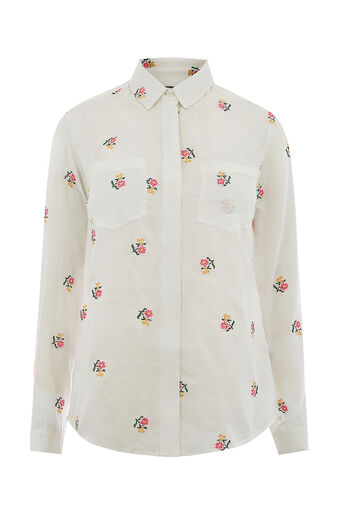 Oasis, DITSY EMBROIDERED SHIRT Multi Natural 0
