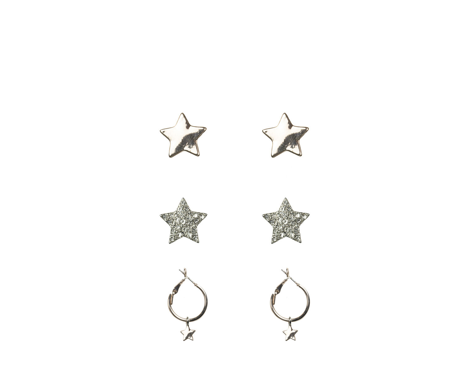 Oasis, 3PK STAR EARRINGS Silver 1