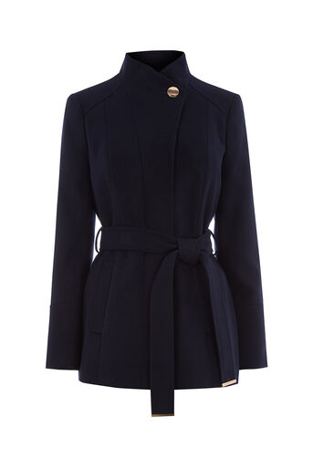 Oasis, LEAH SHORT FUNNEL COAT Navy 0