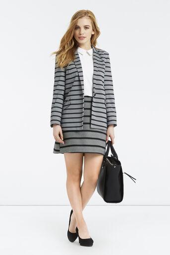Oasis, Petite Stripe Ponte Jacket Black and White 2