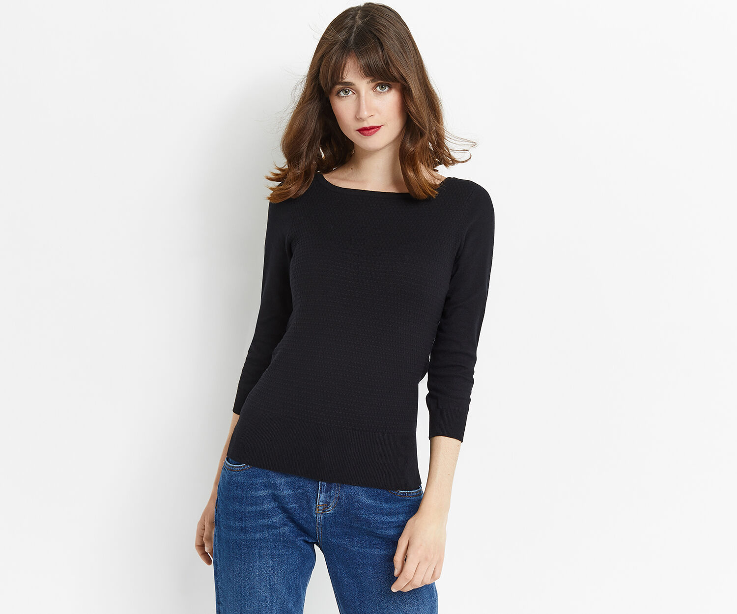 Oasis, TEXTURED KNIT Black 1