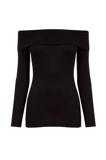Oasis, Bardot Long Sleeve Top Black 0