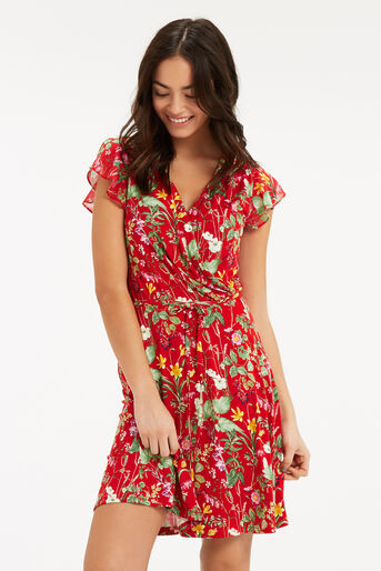 Oasis, SMALL PARADISE RUFFLE DRESS Mid Red 1