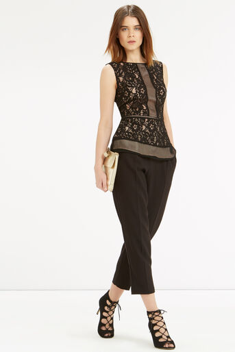 Oasis, Patched Lace Peplum Top Black 2