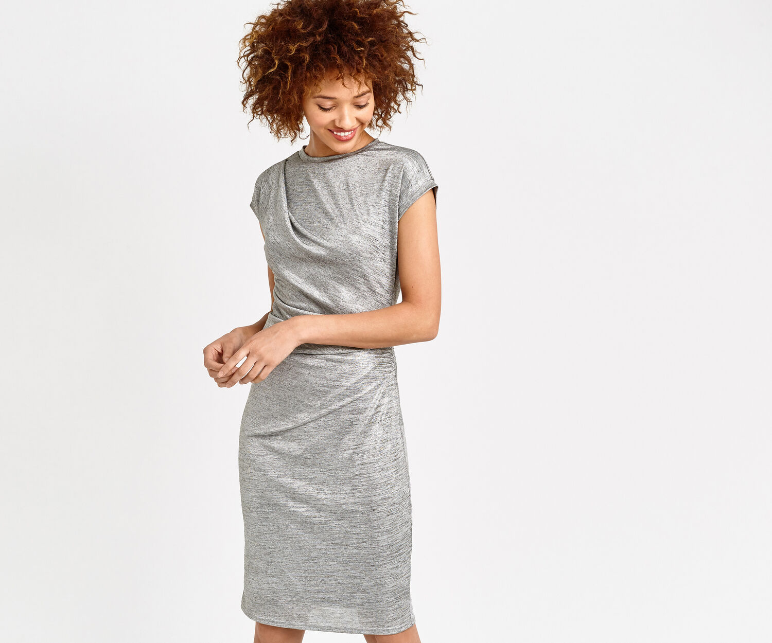 Oasis, FOIL DRAPE DRESS Pale Grey 1
