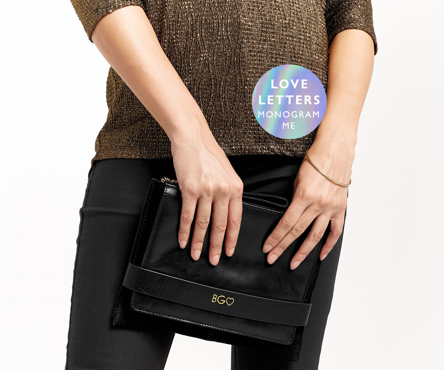 Oasis, MONOGRAM ENVELOPE CLUTCH BAG Black 1