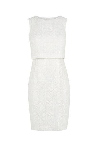 Oasis, Metallic Lace Shift Dress Off White 0