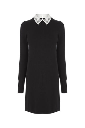 Oasis, Embroidered collar swing dress Black and White 0