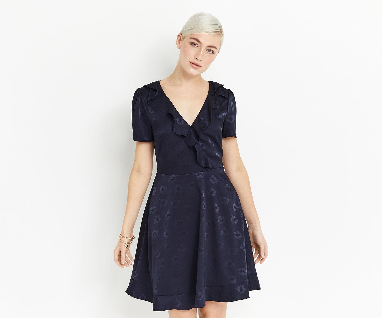 Oasis, FLORAL JACQUARD DRESS Navy 1