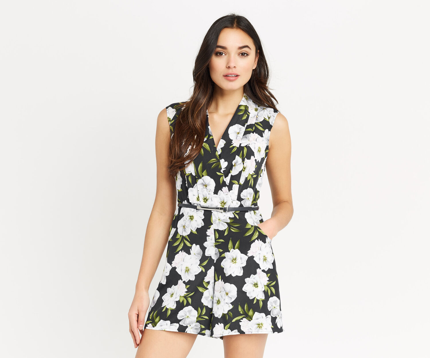 Oasis, WILD FLORAL PLAYSUIT Navy 1