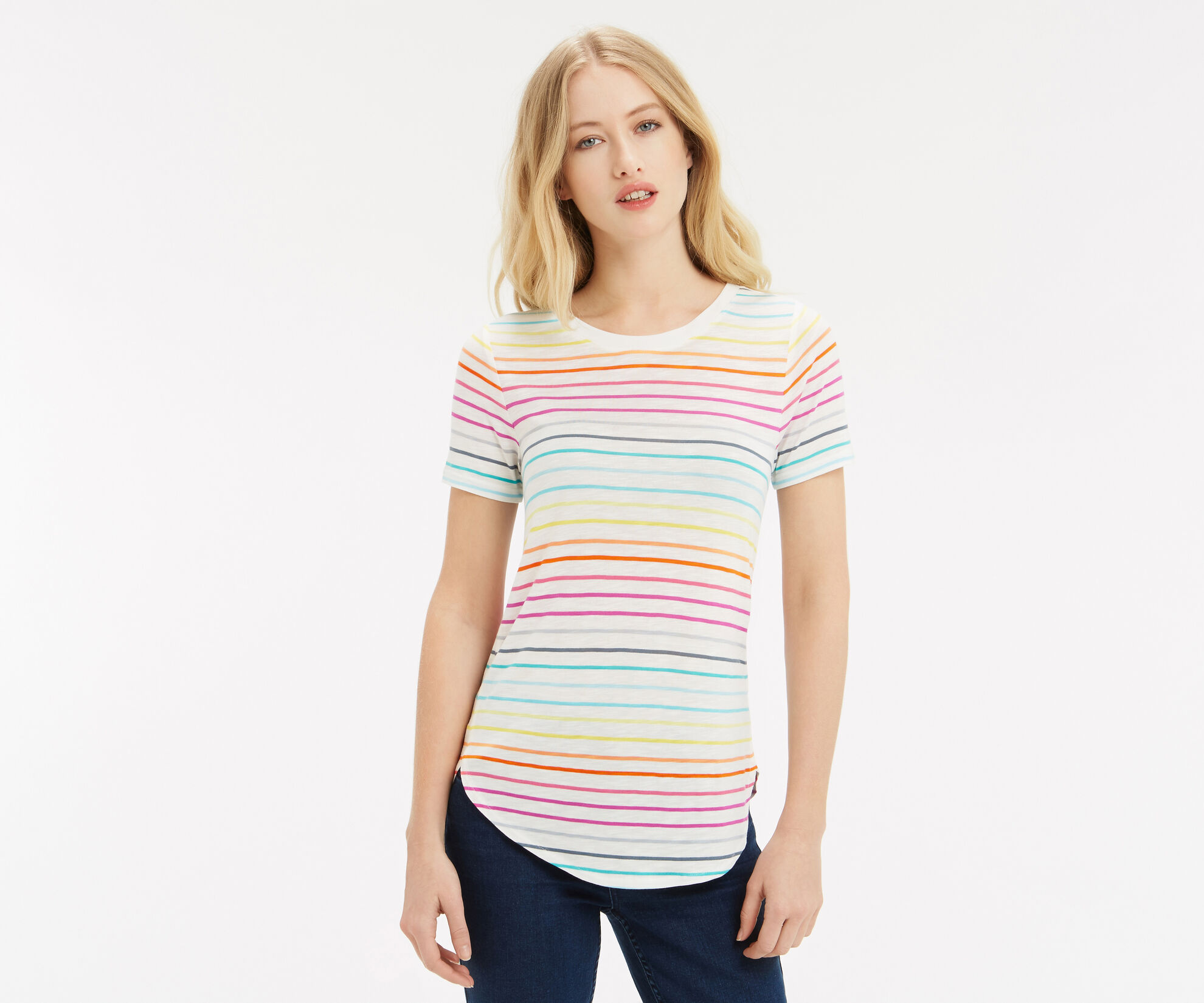 Oasis, Rainbow Stripe T-Shirt Multi 1
