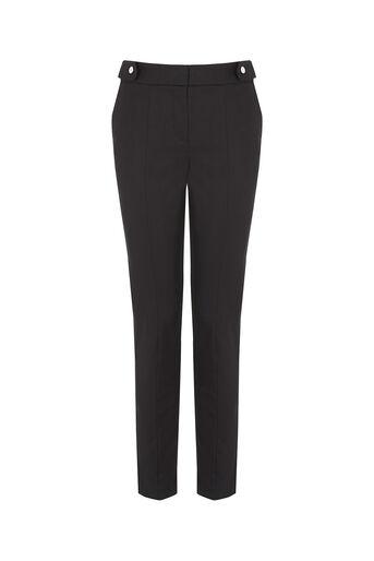 Oasis, Cotton Trouser - Shorter Lengt Black 0