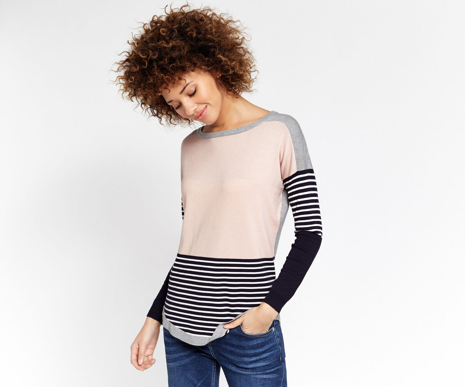 Oasis, Colour Block Stripe Sweater Multi 1