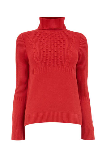 Oasis, BOBBLE CABLE FLARE SLEEVE KNIT Mid Red 0