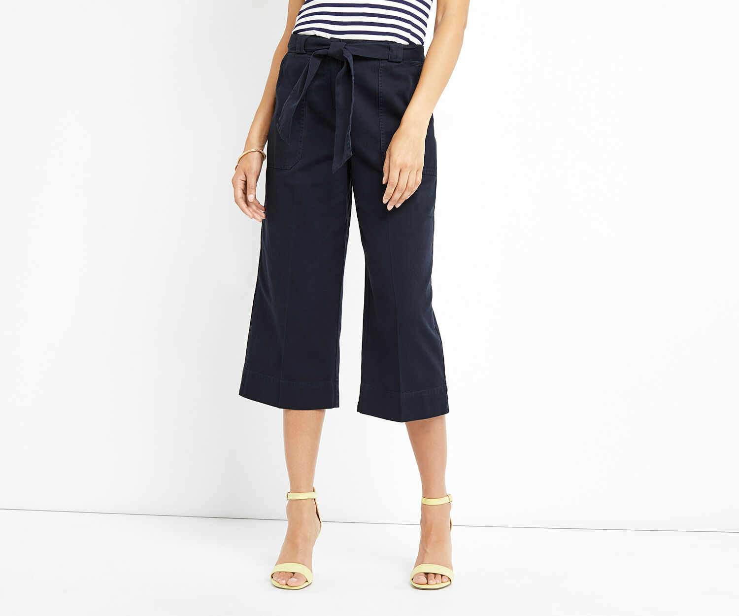 Oasis, WIDE LEG TWILL TROUSER Navy 1