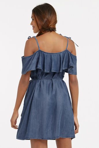 Oasis, Ruffle frill dress Denim 3