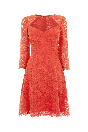 Oasis, LACE SLEEVE SKATER DRESS Soft Orange 0