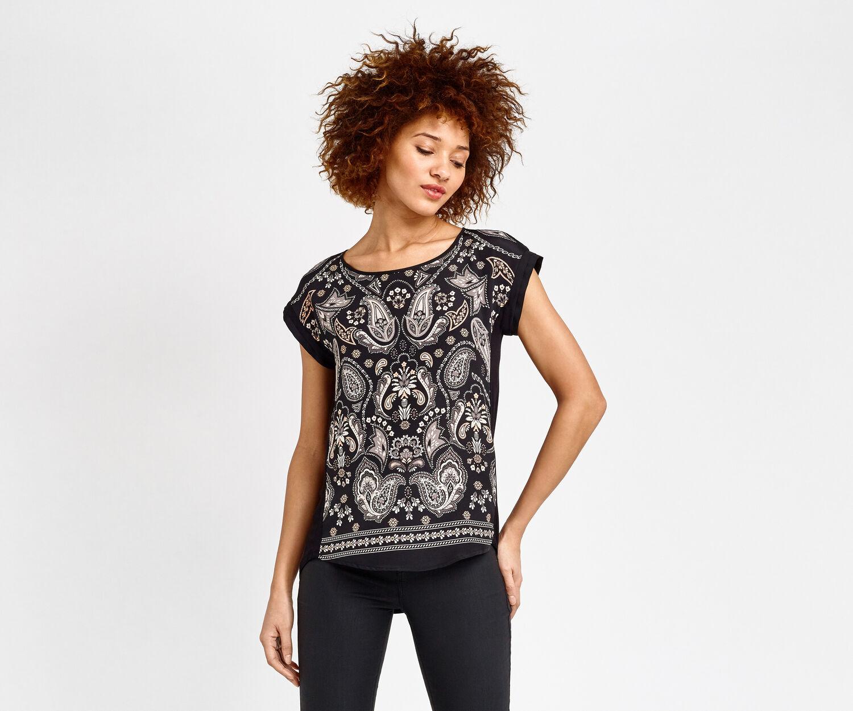 Oasis, T-shirt à motif cachemire décoré Gris moyen 1