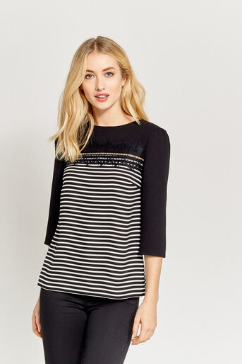 Oasis, STRIPE LACE TOP Black and White 1