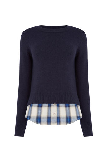 Oasis, Check Shirt Tails Jumper Navy 0