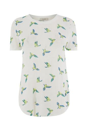 Oasis, T-shirt en jersey à motif perruche Blanc cassé 0