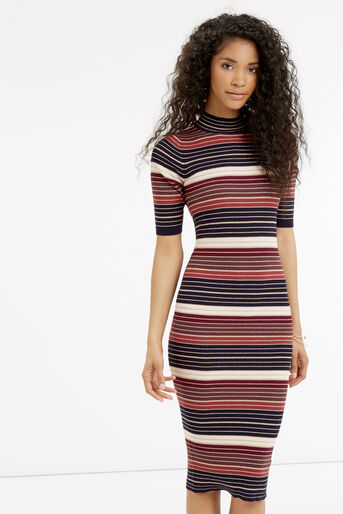 Oasis, Stripe sparkle midi dress Multi 2
