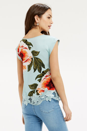 Oasis, Floral Lace Trim T-Shirt Turquoise 3