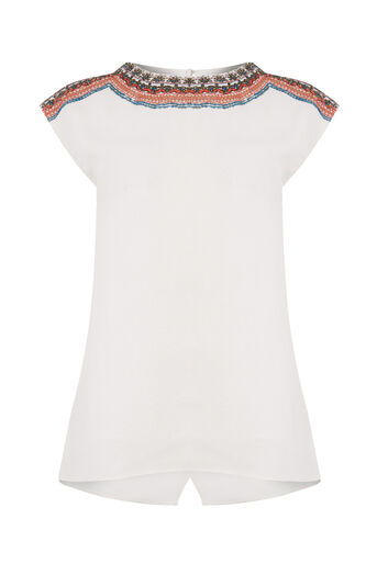 Oasis, EMBELLISHED TOP Off White 0