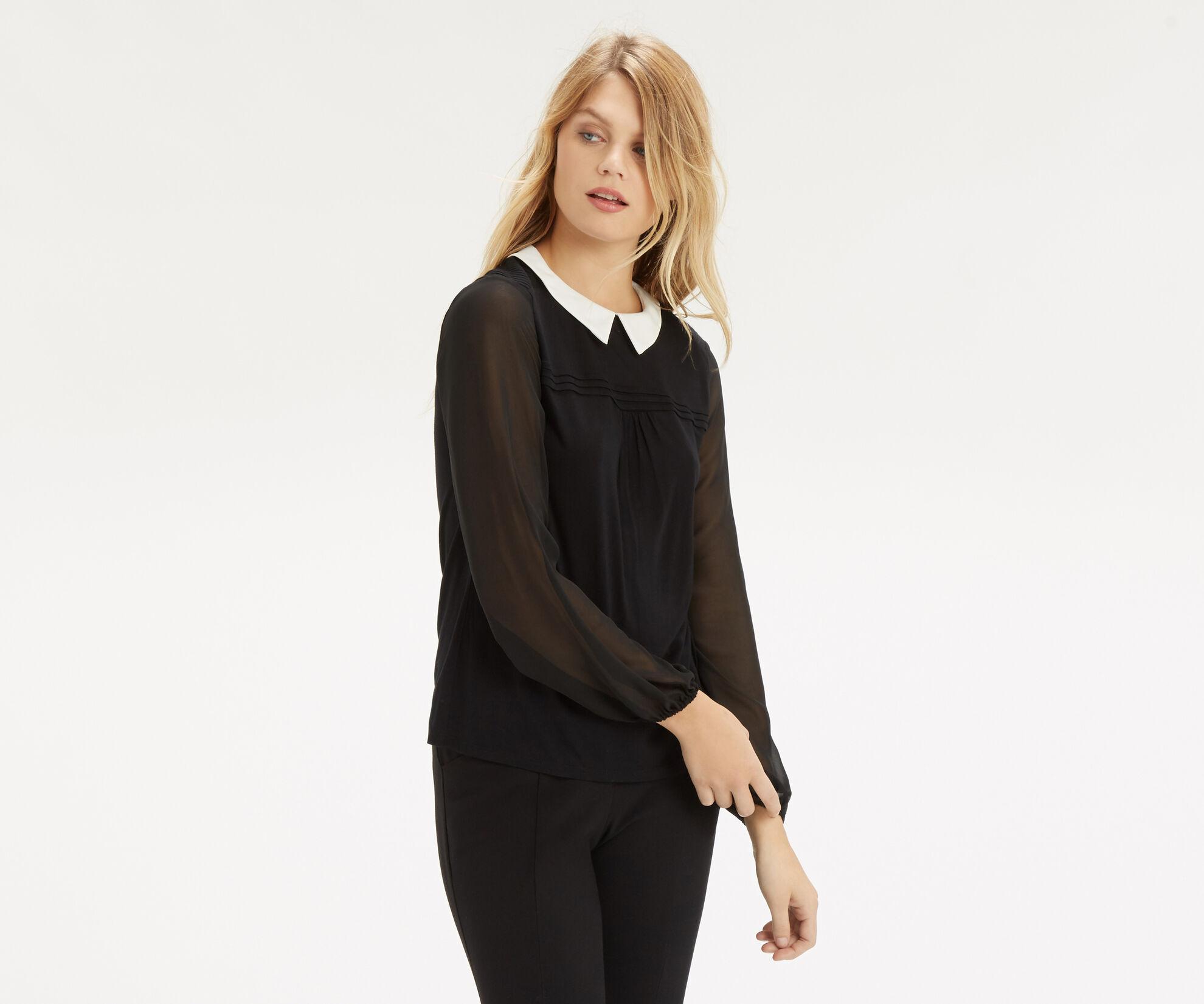 Oasis, Pintuck Shoulder Blouse Black 1