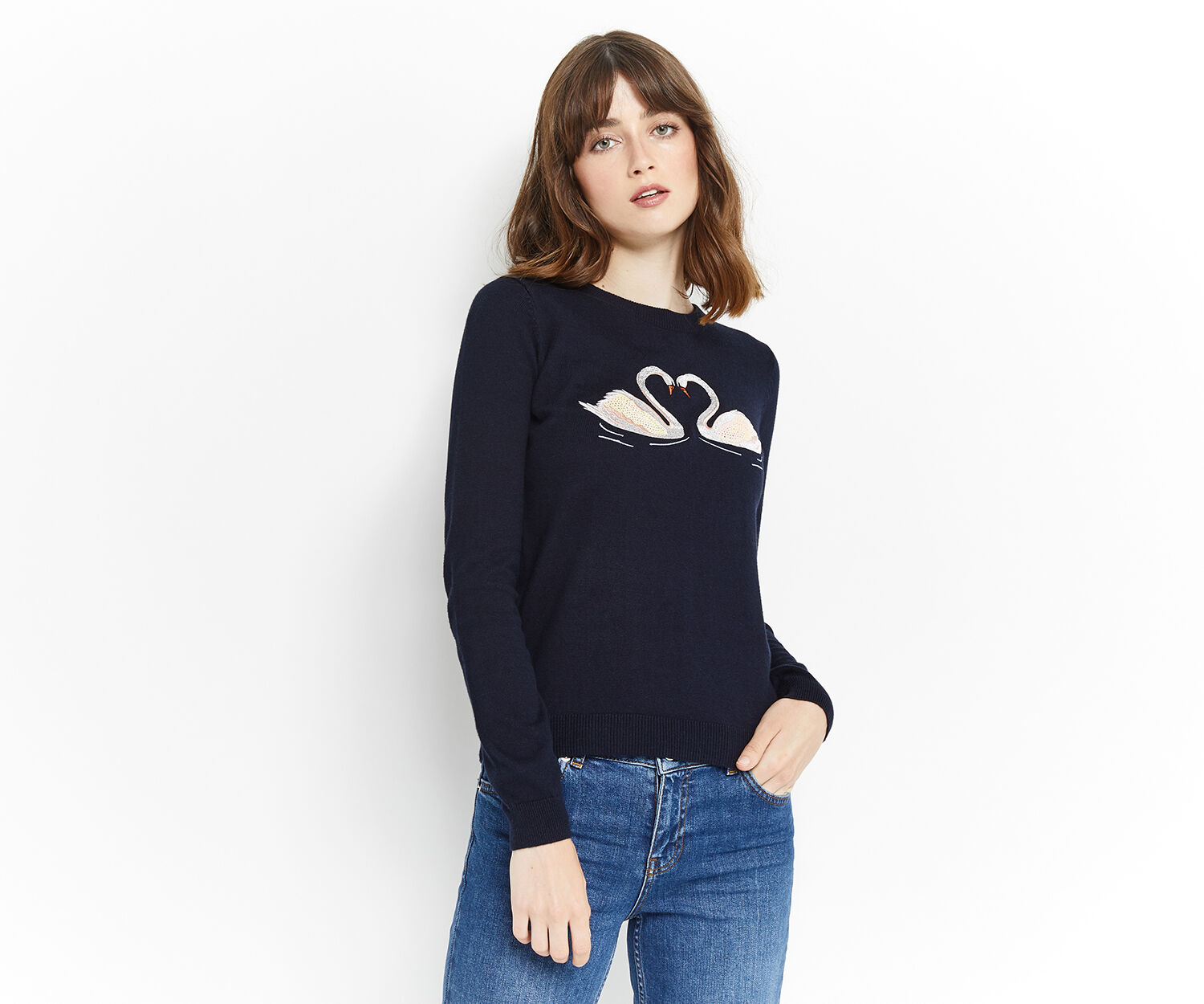 Oasis, KISSING SWAN EMBROIDERED KNIT Navy 1