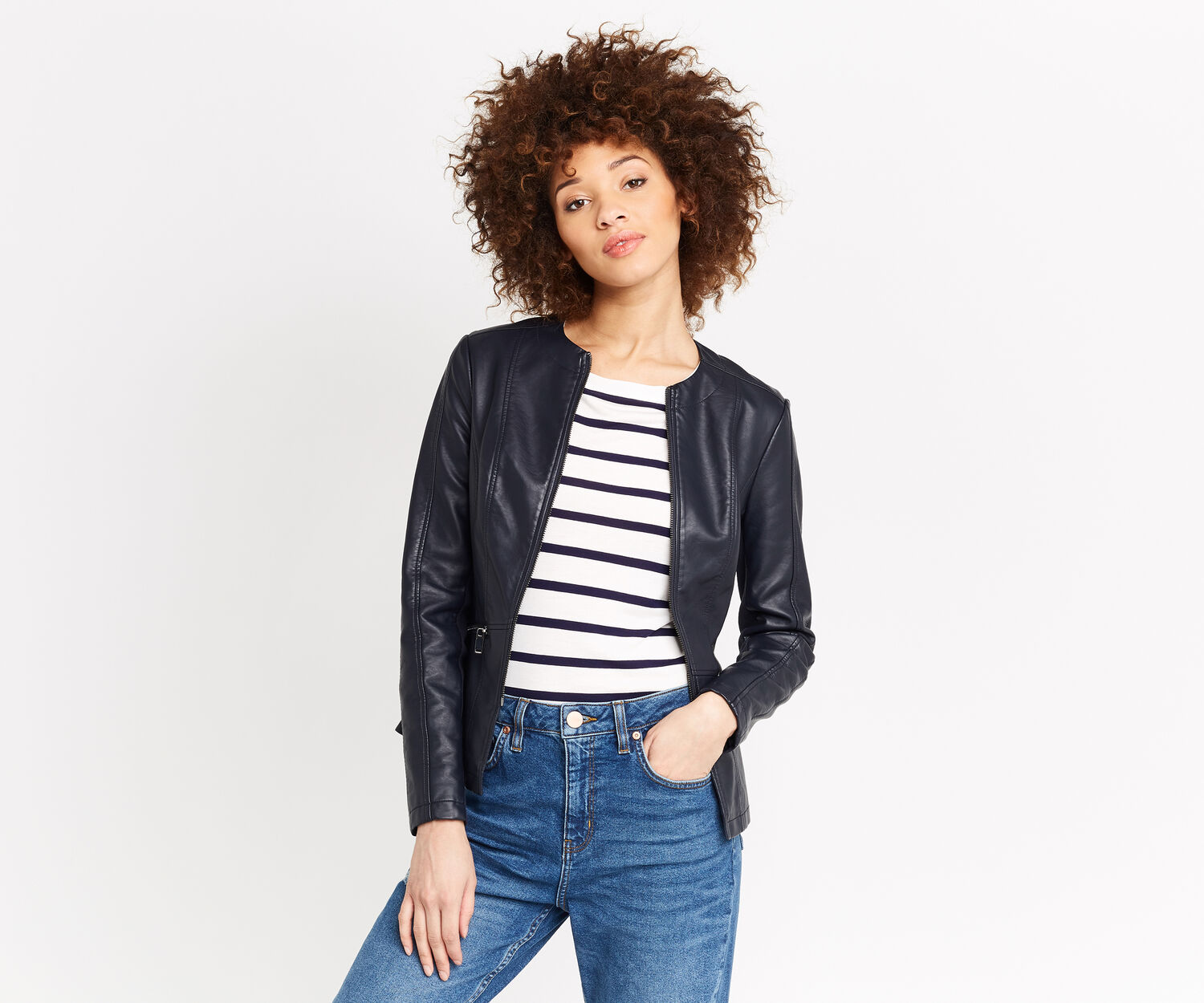Oasis, FAUX LEATHER COLLARLESS JACKET Navy 1