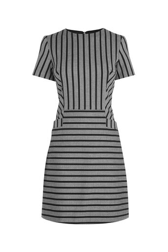 Oasis, STRIPE SHIFT DRESS Multi Black 0