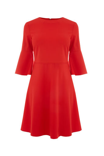 Oasis, FLUTE SLEEVE DRESS Rich Red 0