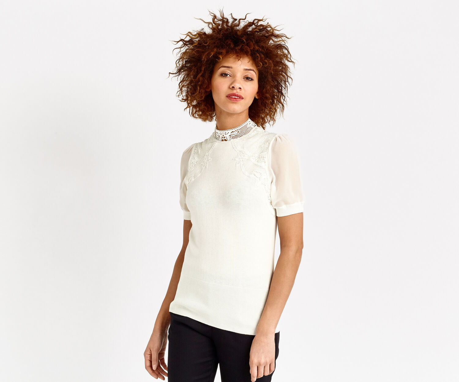 Oasis, LACE AND SHEER SLEEVE KNIT Off White 1