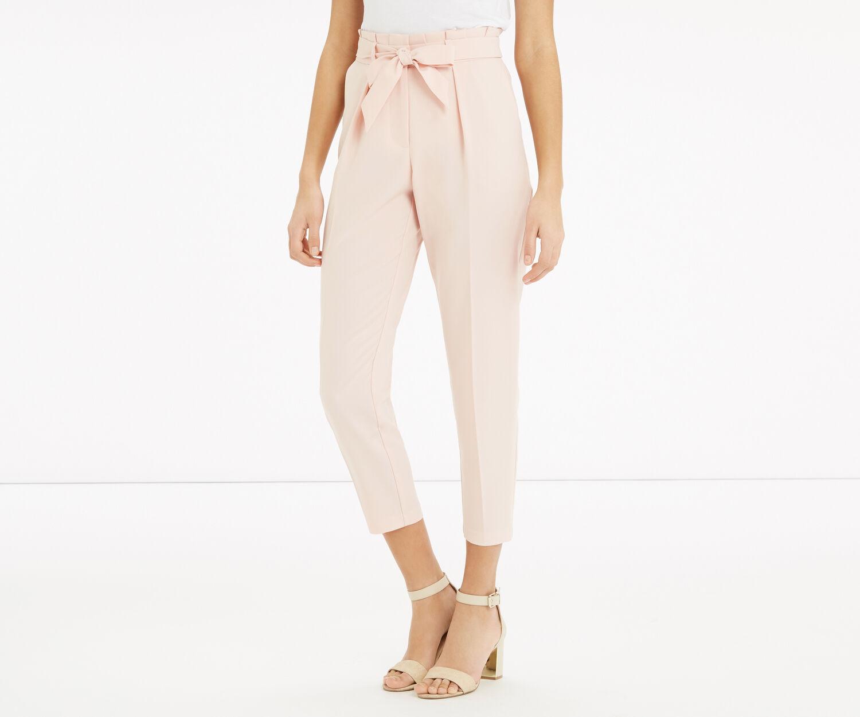 Oasis, Belted Peg Paperbag Trouser Powder Pink 1