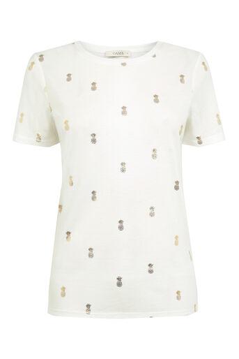 Oasis, Pineapple Foil T-Shirt White 0