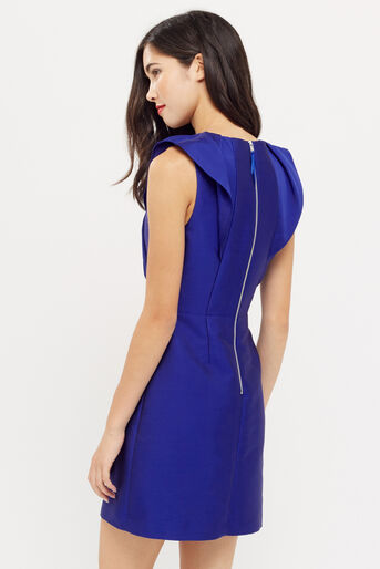 Oasis, TWILL SATIN RUFFLE SHIFT Cobalt Blue 3