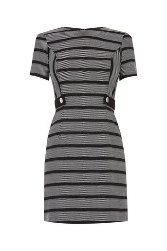 Oasis, Petite Stripe Shift Dress Black and White 0